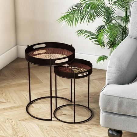 Tray Side Tables in Antique Copper with Mosaic Finish - Set of 2 - Nea
