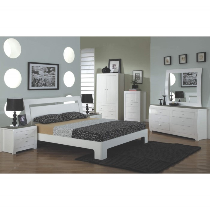 wilkinson furniture newport double bed frame in white gloss - Double Bed Frame