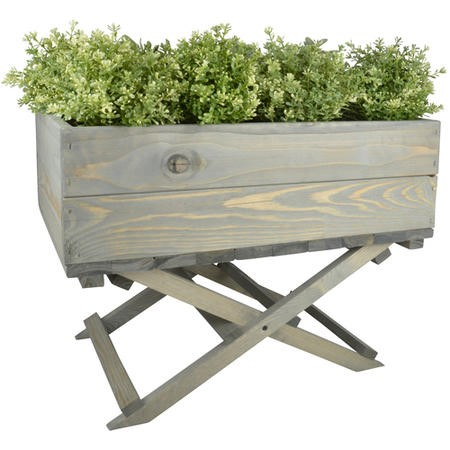 Outdoor Wooden Planter on Foldable Stand Light Green