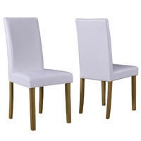 New Haven Pair of Dining Chairs in White Faux Leather