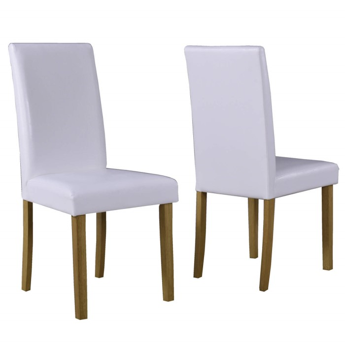 New haven pair of modern white faux leather dining chairs for Modern white leather dining chairs