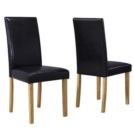 Set of 2 Black Faux Leather Dining Chairs - New Haven