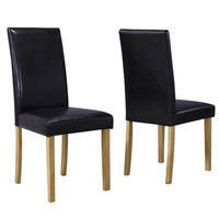 New Haven Pair of Dining Chairs in Black Faux Leather
