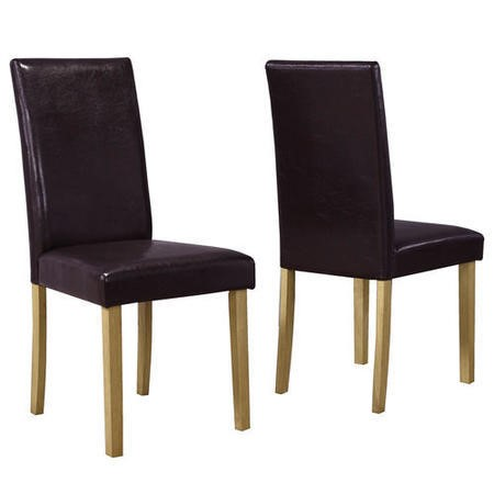 New haven pair of dining chairs in brown faux leather for Furniture 123