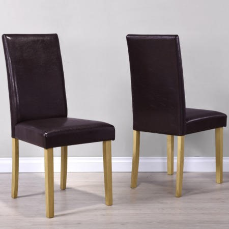 New Haven Pair of Modern Brown Faux Leather Dining Chairs