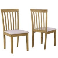 New Haven Pair of Slatted Chairs in Cream Fabric