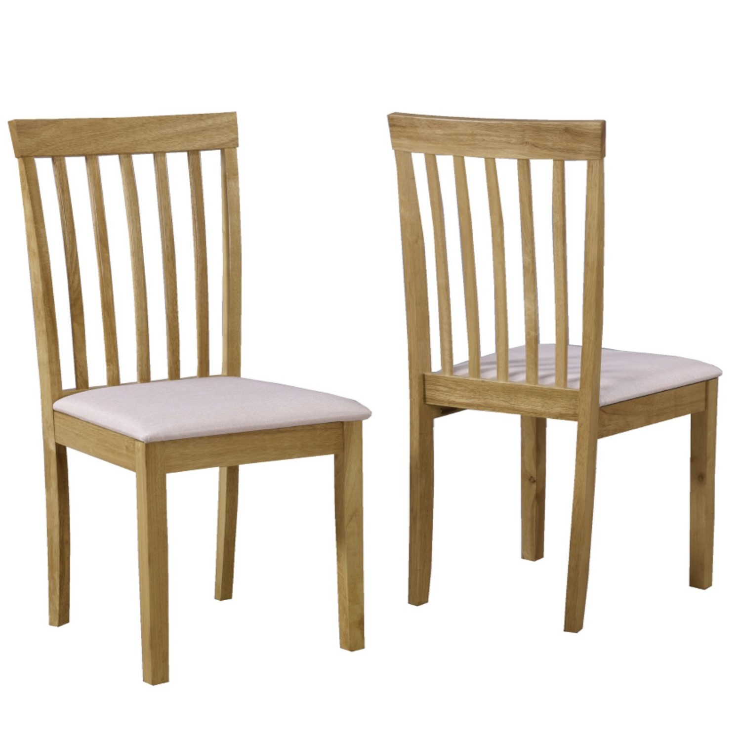 Set of 2 Wooden Dining Chairs with Cream Fabric Seats New Haven