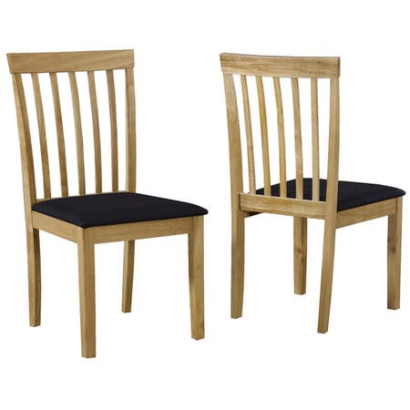 Set of 2 Wooden Dining Chairs with Black Fabric Seats - New Haven