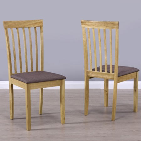 New Haven Pair of Wooden Dining Chairs with Brown Fabric Seats