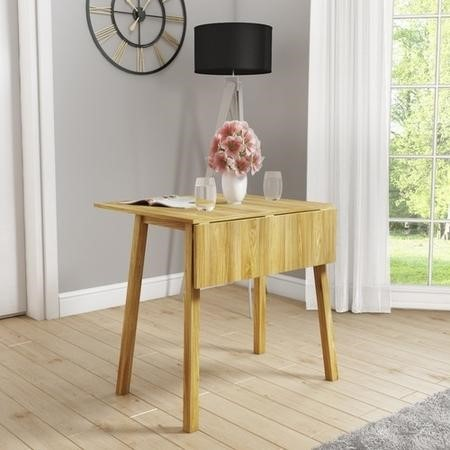 New Haven Drop Leaf Space Saving Dining Table - Light Oak
