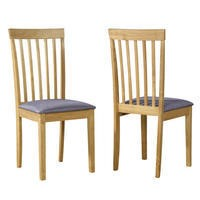 New Haven Pair of Slatted Chairs in Grey Fabric