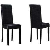 New Haven Pair of Chairs in Black Faux Leather with Black Legs