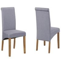 New Haven Pair of Roll Back Chairs in Grey Fabric