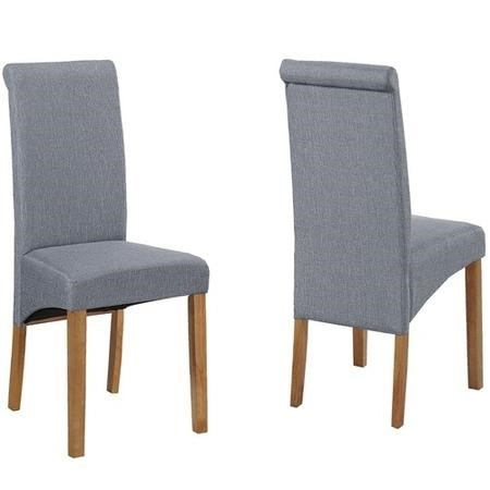 Pair of Grey Roll Top Dining Chairs with Wooden Legs - New Haven
