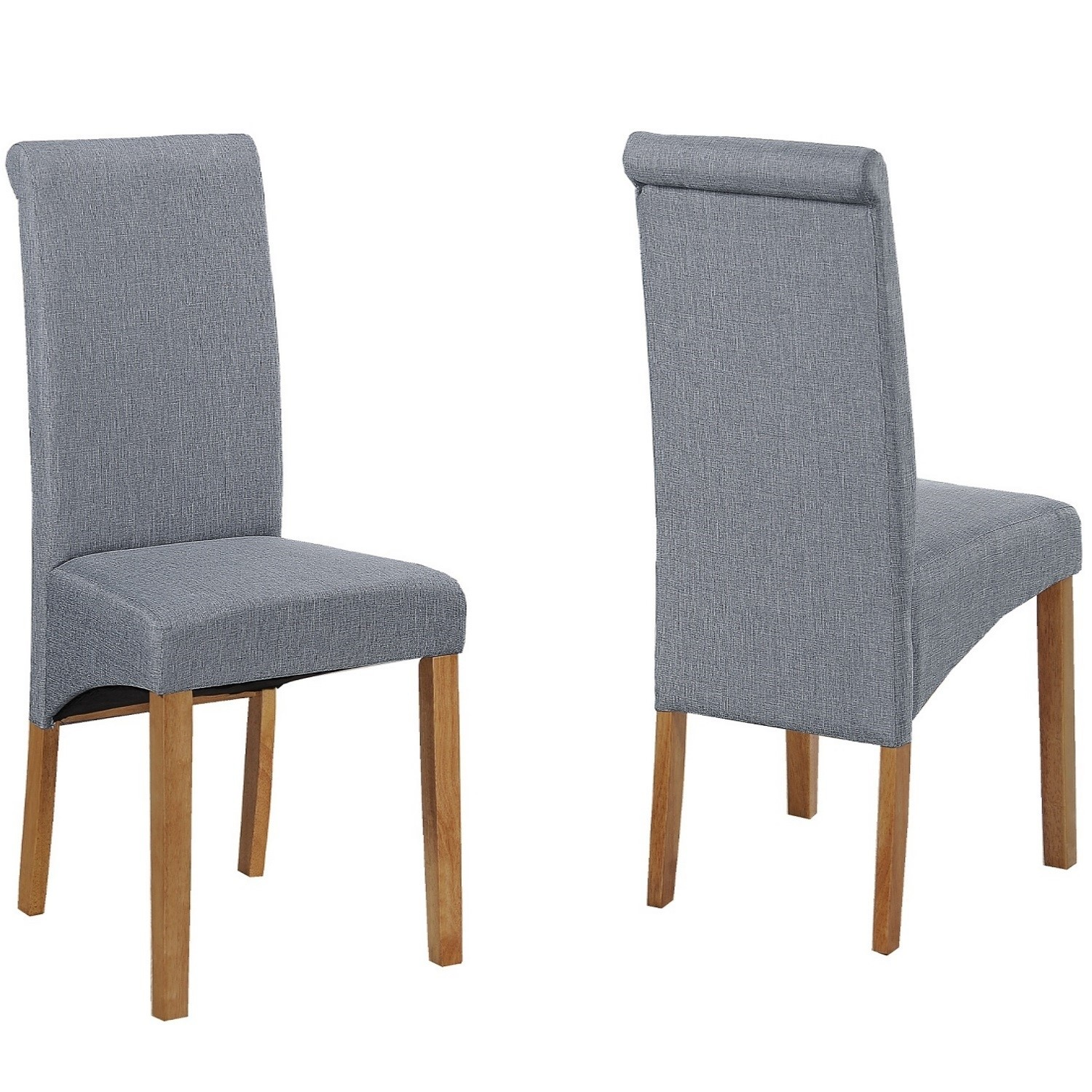 Pair of Grey Roll Top Dining Chairs with Wooden Legs New Haven