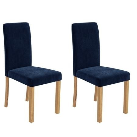 Pair of Velvet Navy Blue Dining Chairs - New Haven