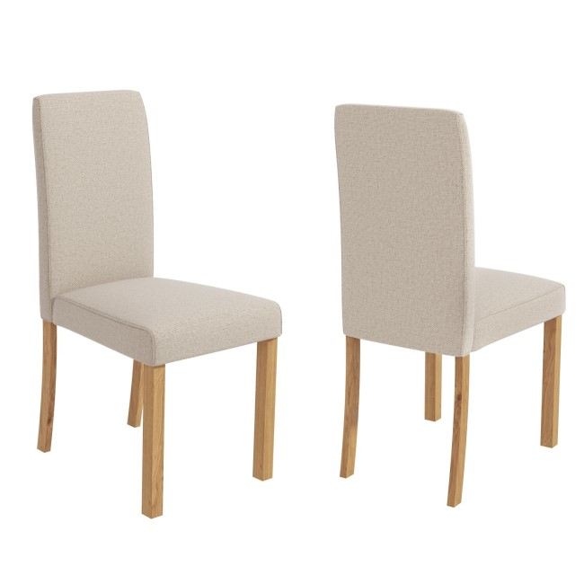 Set of 2 Cream Fabric Dining Chairs - New Haven