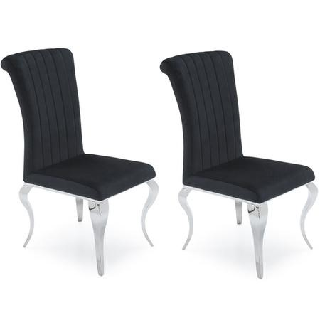 Orion Pair Of Black Velvet Dining Chairs With Mirrored Leg S By