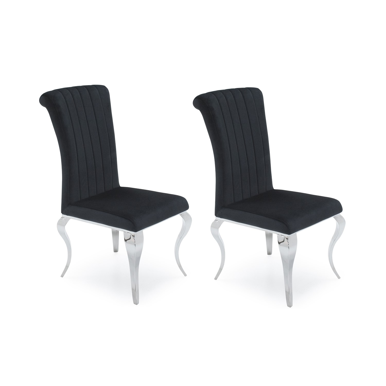 Nicole Pair Black Velvet Dining Chairs With Chrome ... Part 56