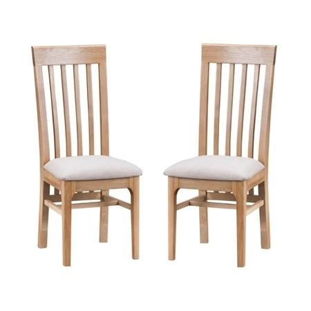 Keswick Pair of Slat Back Chairs in Light Oak