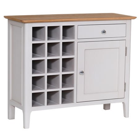 Keswick Oak Drinks Cabinet with Grey Painted Finish - Wine Rack