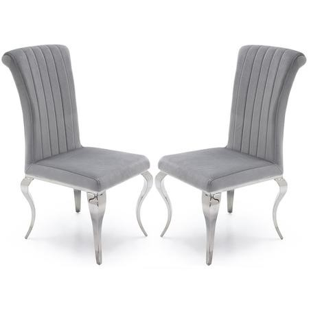 Set of 2 Silver Velvet Chairs with Mirrored Legs - By Vida Living