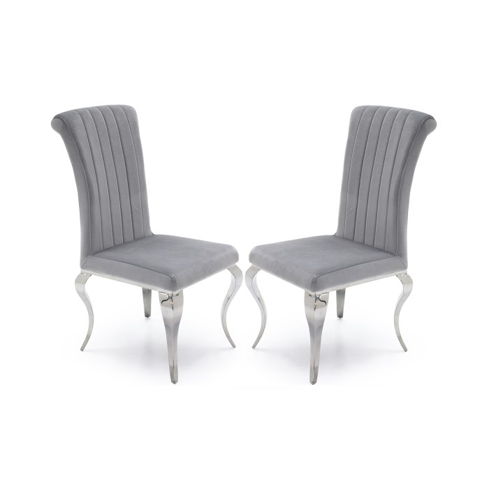 Nicole Pair Of Chairs In Silver Velvet With Chrome Legs