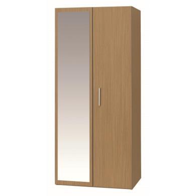 One Call Furniture Oak 2 Door Mirror Wardrobe