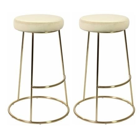 Pair of Champagne Opera Bar Stools