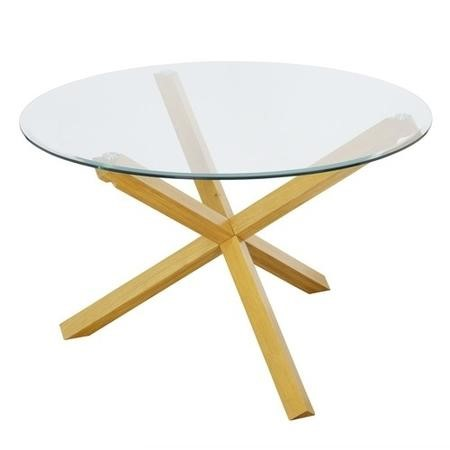 LPD Oporto Soild Oak And Glass Large Round Table - 120cm Diameter
