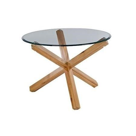 LPD Oporto Solid Oak And Glass Dining Table - 106.5cm Diameter