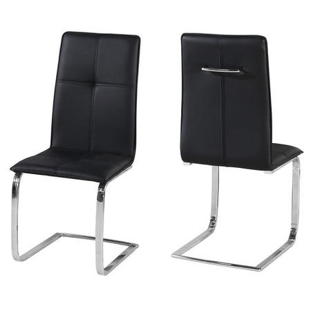 LPD Opus Pair of Cantilever Dining Chairs in Black Faux Leather