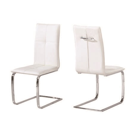 LPD Matrix Pair of Cantilever Dining Chairs In White Faux Leather