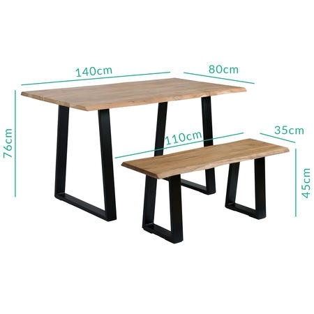 Orson Industrial Solid Wood Dining Set with Table & 2 Dining Benches