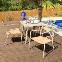 Oseasons Milos Metal Garden Table & Chairs Patio Set in Taupe