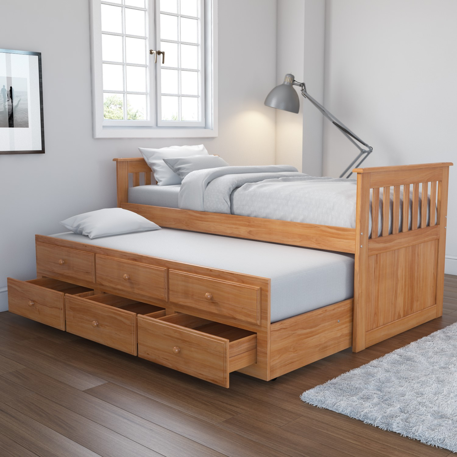 new arrival b754c fa7e3 Oxford Captains Guest Bed With Storage in Pine - Trundle Bed Included
