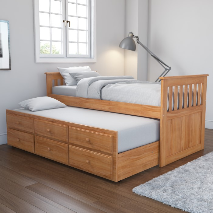Oxford Captains Guest Bed With Storage In Pine Trundle Bed