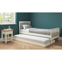 Oxford Single Guest Bed in Stone White - Trundle Bed Included