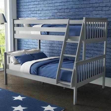 Oxford Triple Bunk Bed in Light Grey - Small Double
