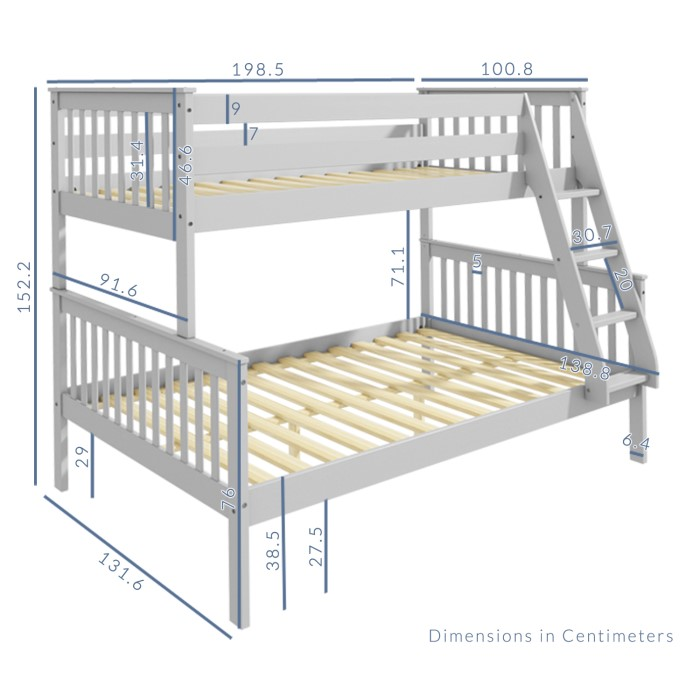 Oxford Triple Bunk Bed In Light Grey Small Double
