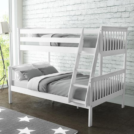 Oxford Triple Bunk Bed in White - Small Double