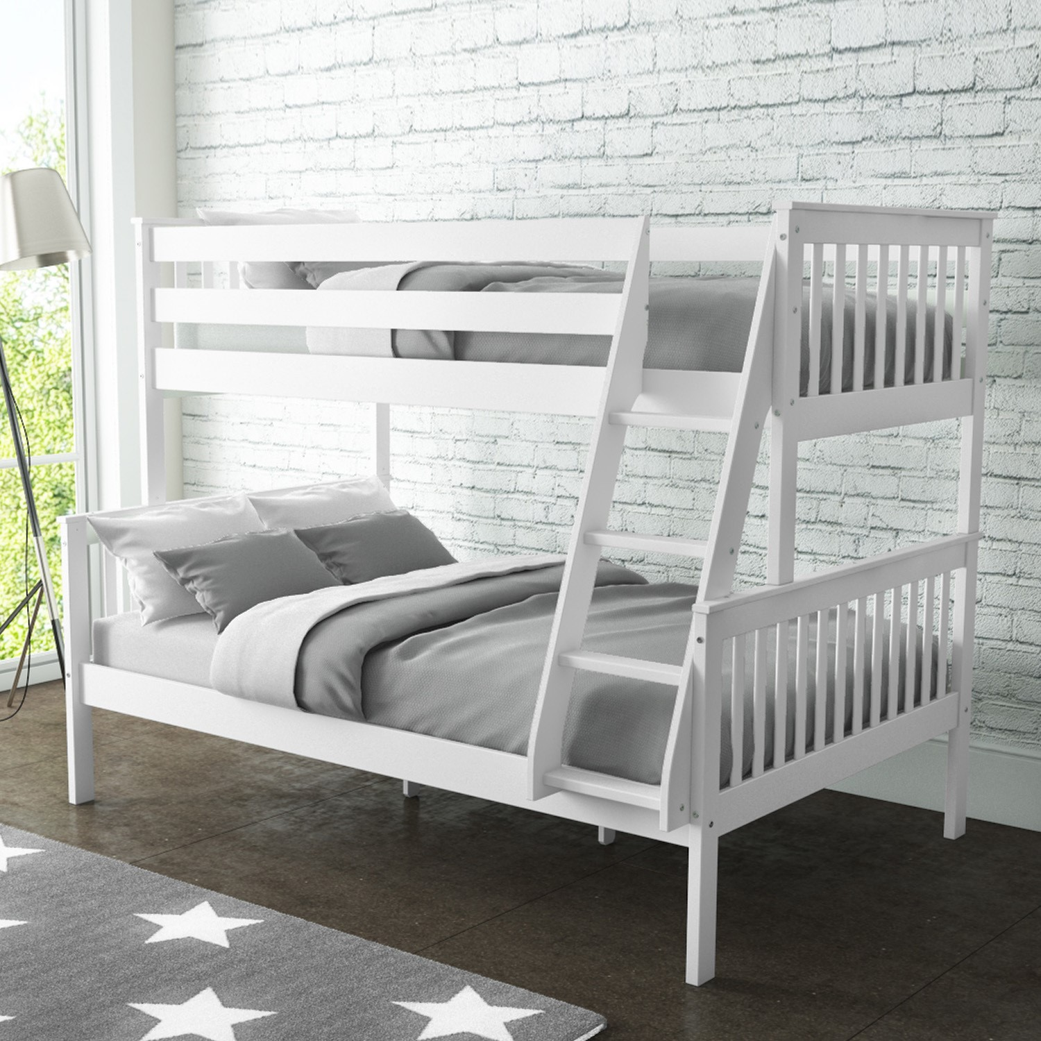 Incroyable Oxford Triple Bunk Bed In White   Small Double