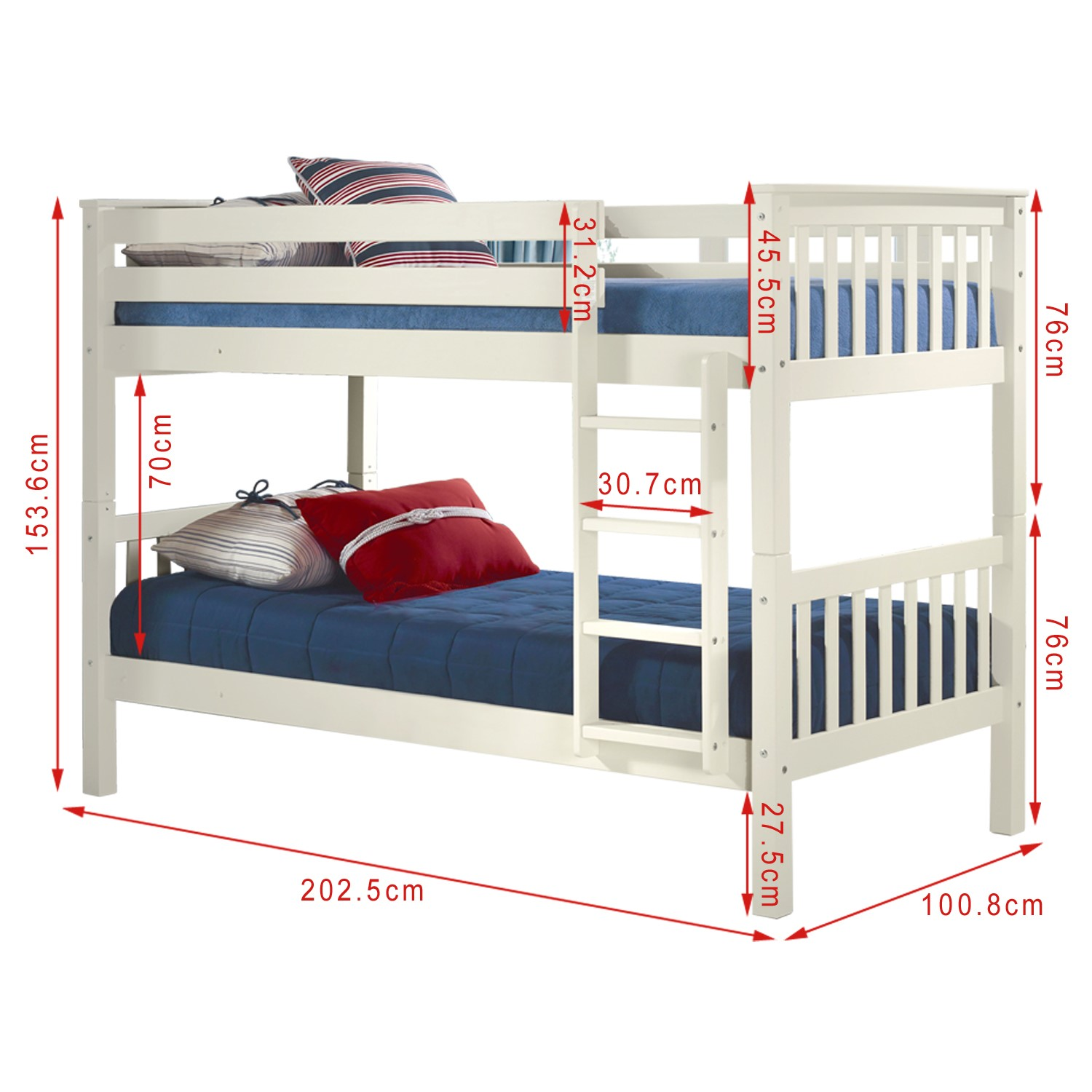 Picture of: Oxford Single Bunk Bed In White Furniture123