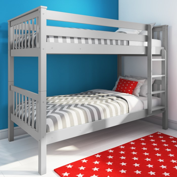 Oxford Single Bunk Bed In Light Grey Furniture123