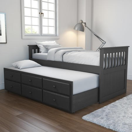 Oxford Captains Guest Bed with Storage in Dark Grey - Trundle Bed Included