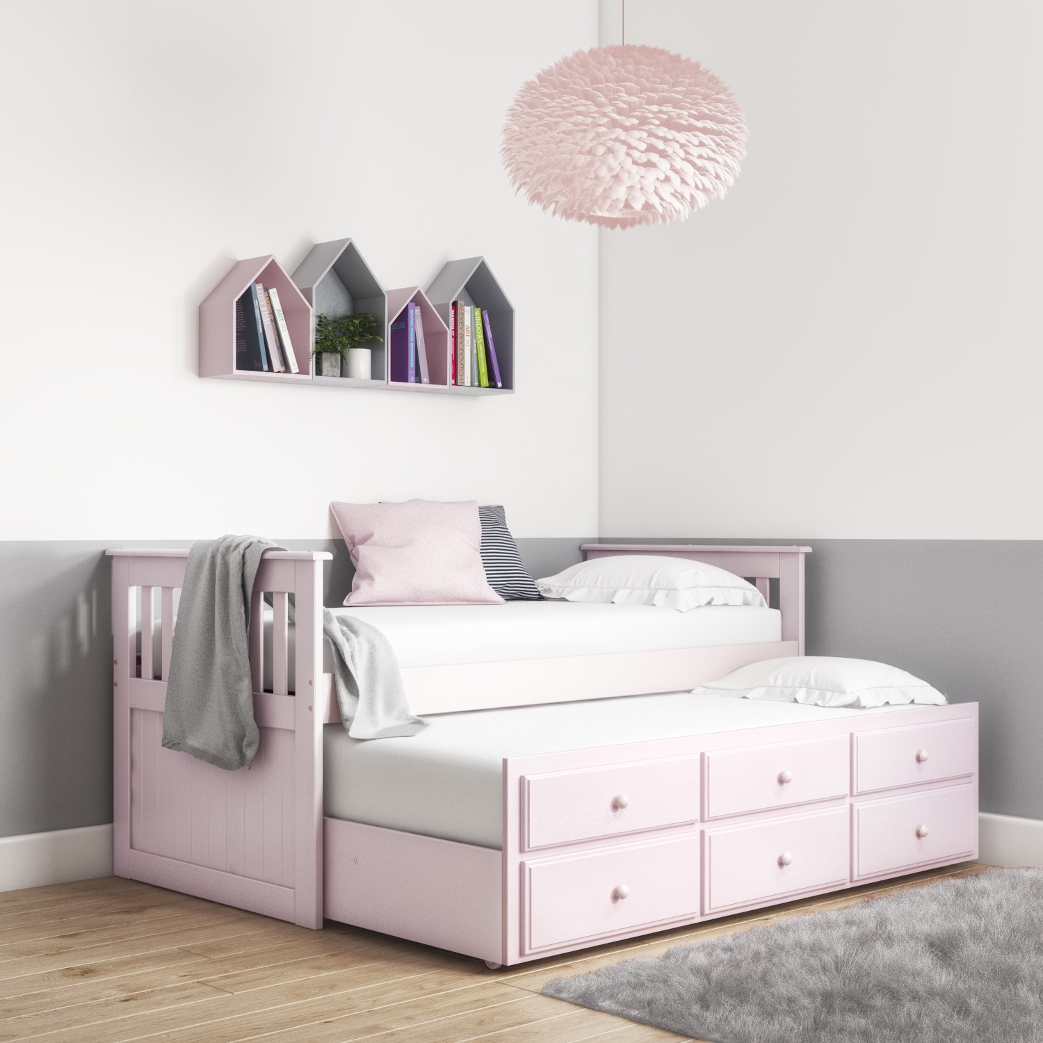 GRADE A2   Oxford Captains Guest Bed With Storage in Light Pink