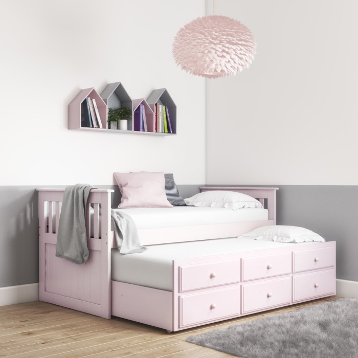 c5c880f2a1da Oxford Captains Guest Bed With Storage in Light Pink - Trundle Bed Included  OXF019
