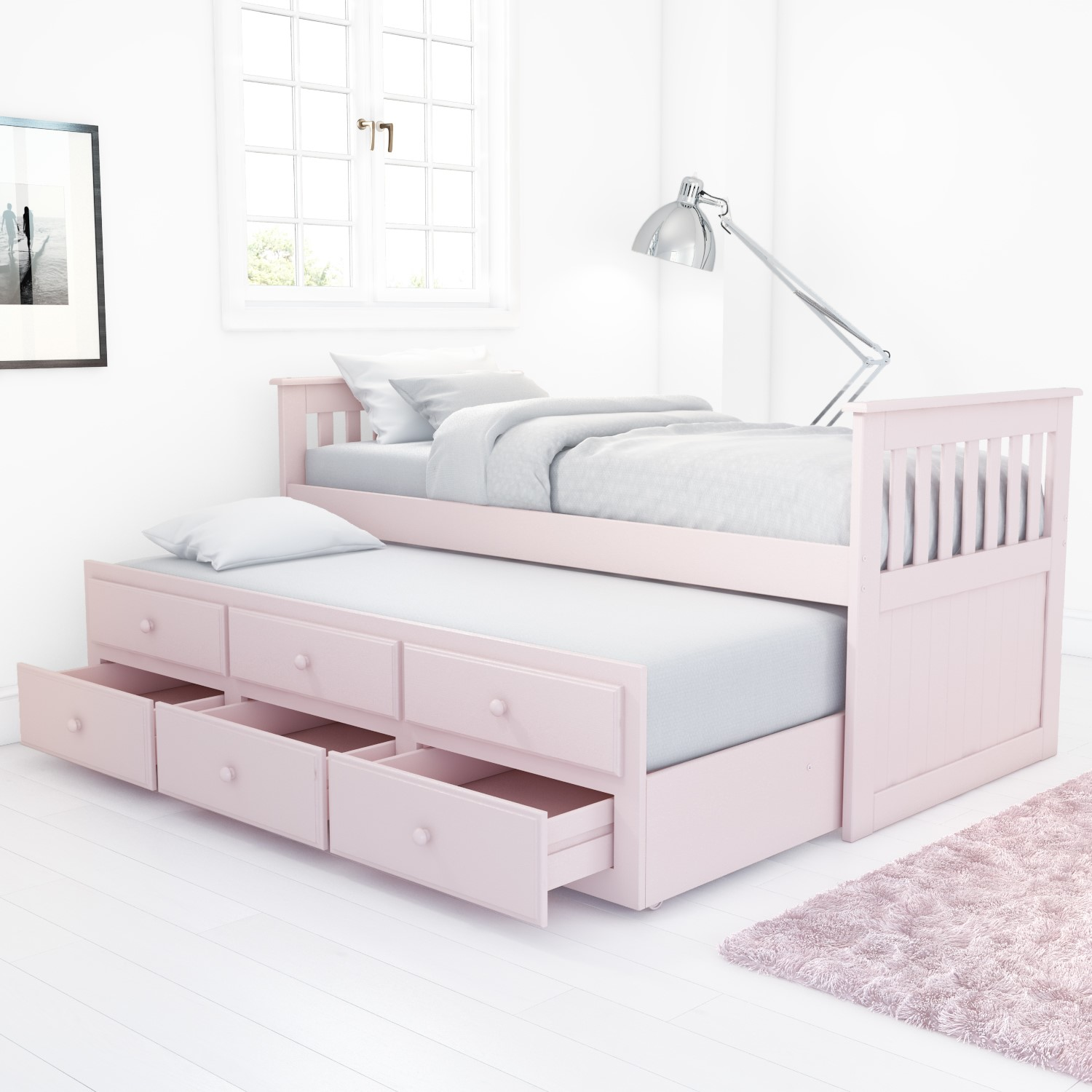 Oxford Captains Guest Bed With Storage In Light Pink Trundle Bed Included Furniture123