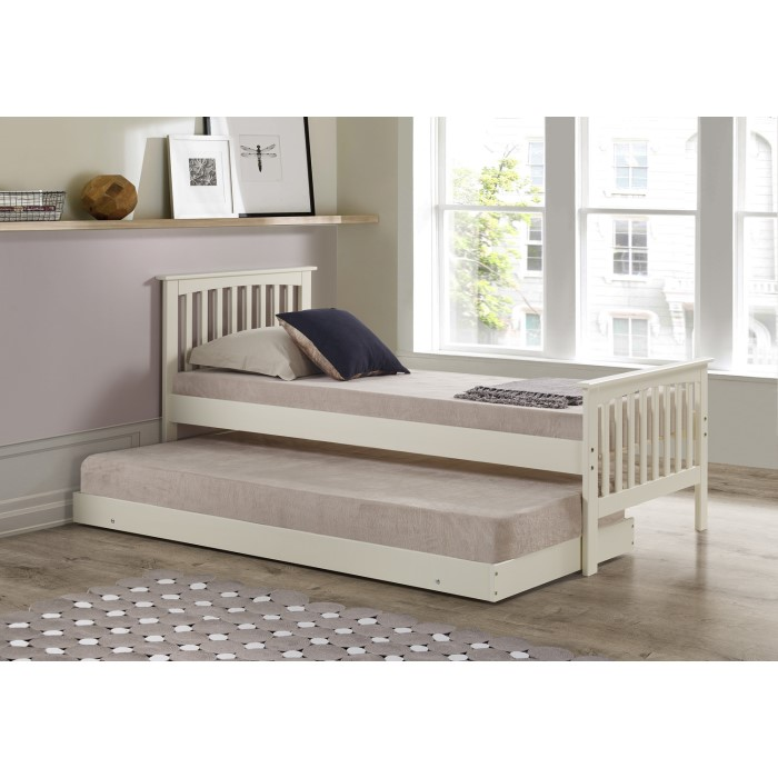 Classic Single Bed With Trundle Bed By Stompa: Oxford Single Guest Bed In Cream