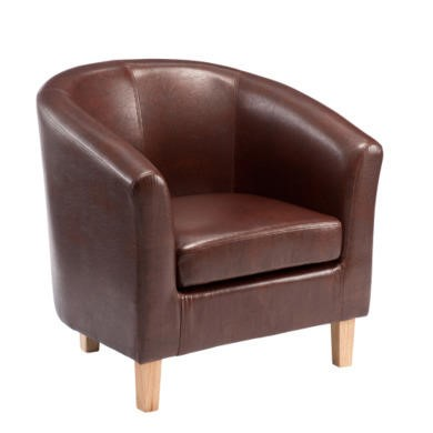 World Furniture Oxford Faux Leather Tub Chair in Antique Brown